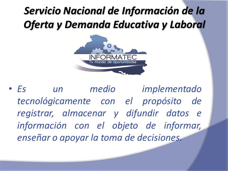 Servicio Nacional de Información de la Oferta y Demanda Educativa y Laboral Es un medio implementado tecnológicamente con el propósito de registrar, a