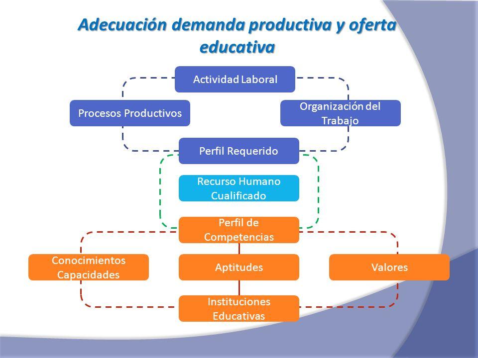 Adecuación demanda productiva y oferta educativa Actividad Laboral Procesos Productivos Organización del Trabajo Perfil Requerido Perfil de Competenci