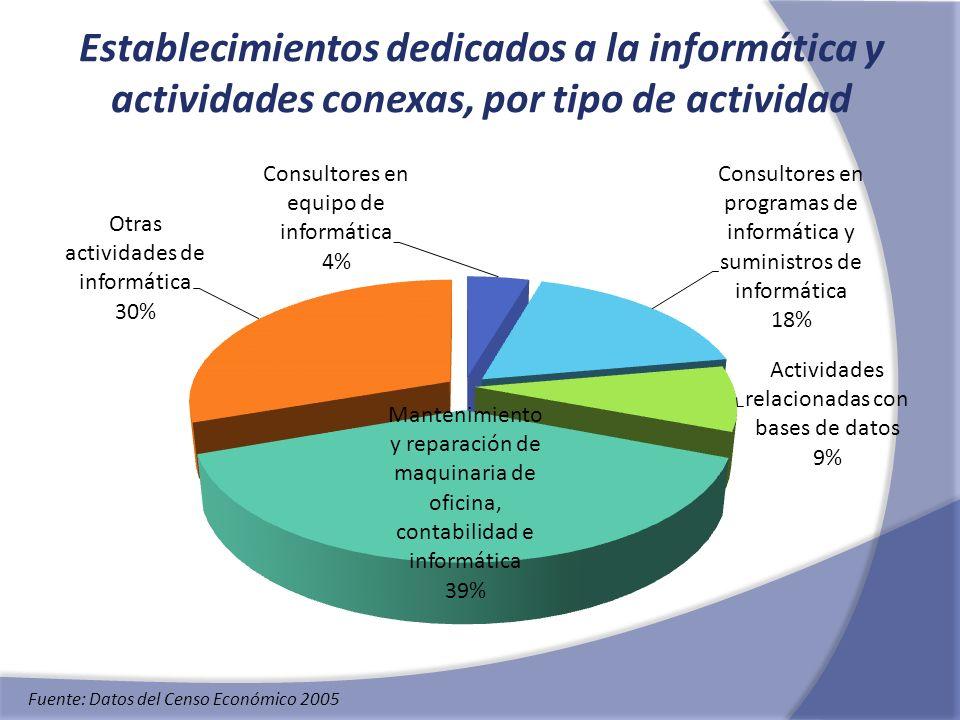 Establecimientos dedicados a la informática y actividades conexas, por tipo de actividad Fuente: Datos del Censo Económico 2005