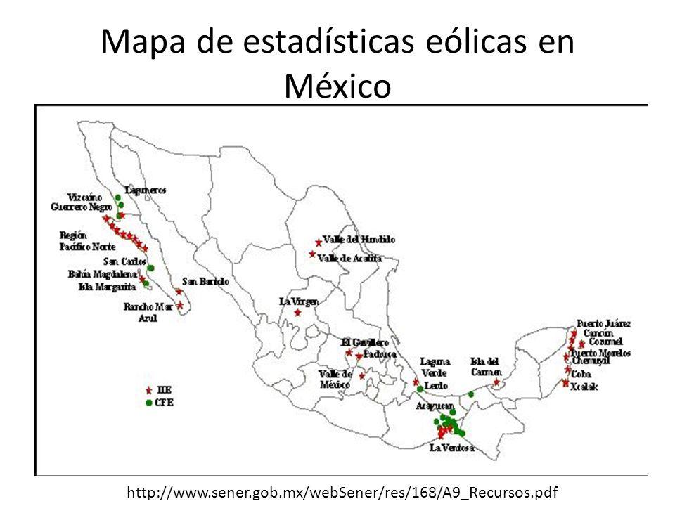 Mapa de estadísticas eólicas en México http://www.sener.gob.mx/webSener/res/168/A9_Recursos.pdf