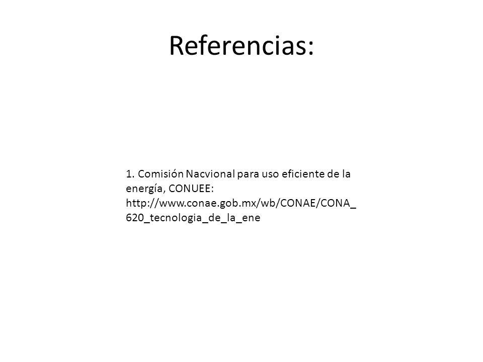 Referencias: 1. Comisión Nacvional para uso eficiente de la energía, CONUEE: http://www.conae.gob.mx/wb/CONAE/CONA_ 620_tecnologia_de_la_ene