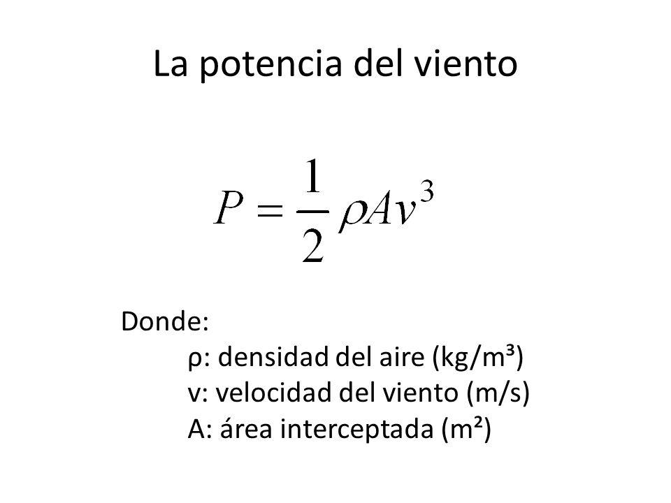 La potencia del viento Donde: ρ: densidad del aire (kg/m³) v: velocidad del viento (m/s) A: área interceptada (m²)
