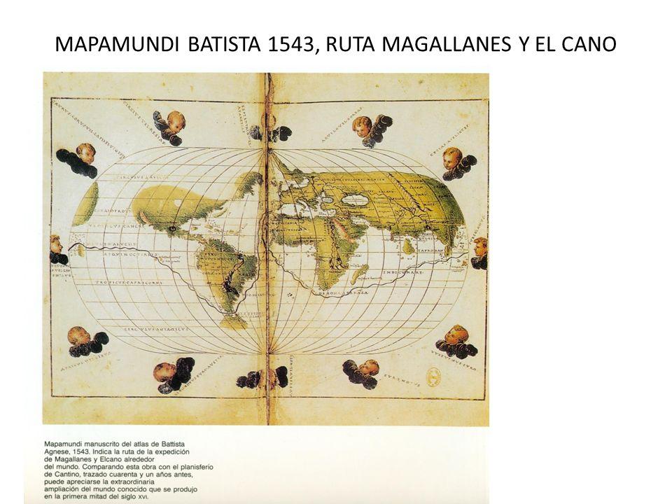 MAPAMUNDI BATISTA 1543, RUTA MAGALLANES Y EL CANO