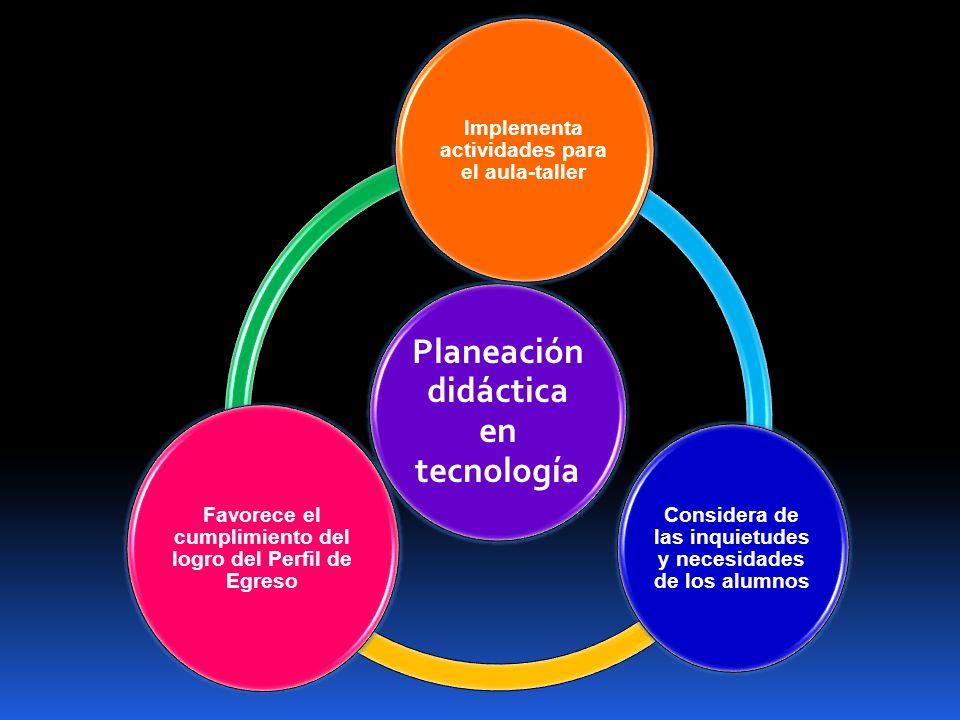 Planeación didáctica en tecnología Implementa actividades para el aula-taller Considera de las inquietudes y necesidades de los alumnos Favorece el cu