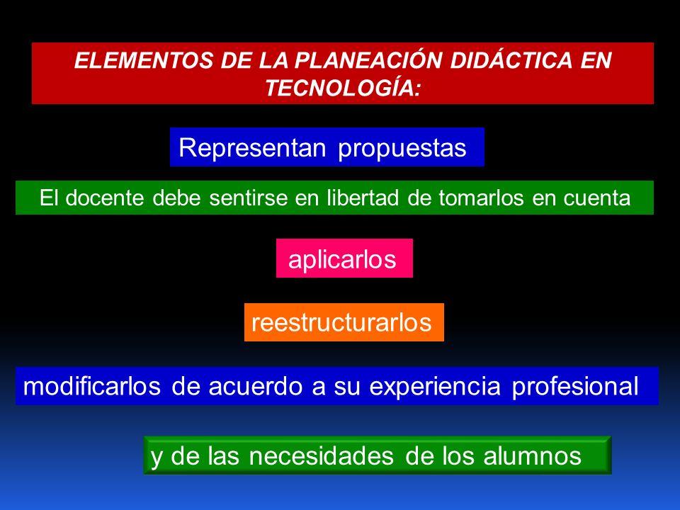 ELEMENTOS DE LA PLANEACIÓN DIDÁCTICA EN TECNOLOGÍA: y de las necesidades de los alumnos Representan propuestas El docente debe sentirse en libertad de
