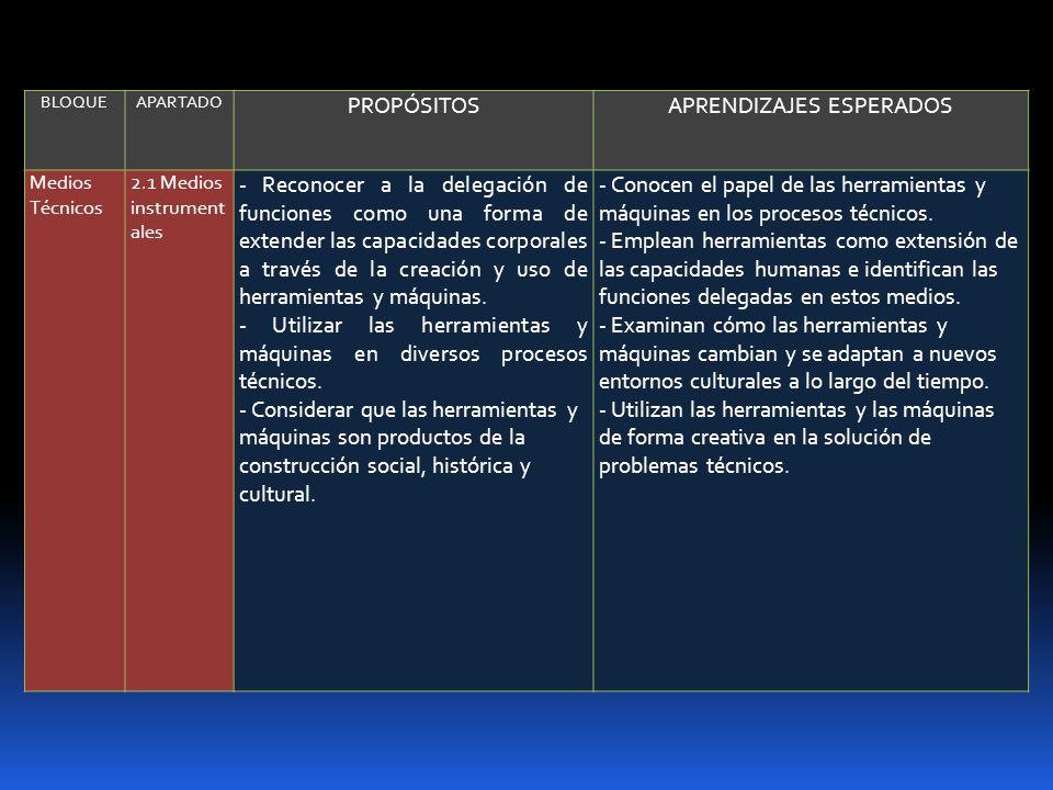 BLOQUEAPARTADO PROPÓSITOSAPRENDIZAJES ESPERADOS Medios Técnicos 2.1 Medios instrument ales - Reconocer a la delegación de funciones como una forma de