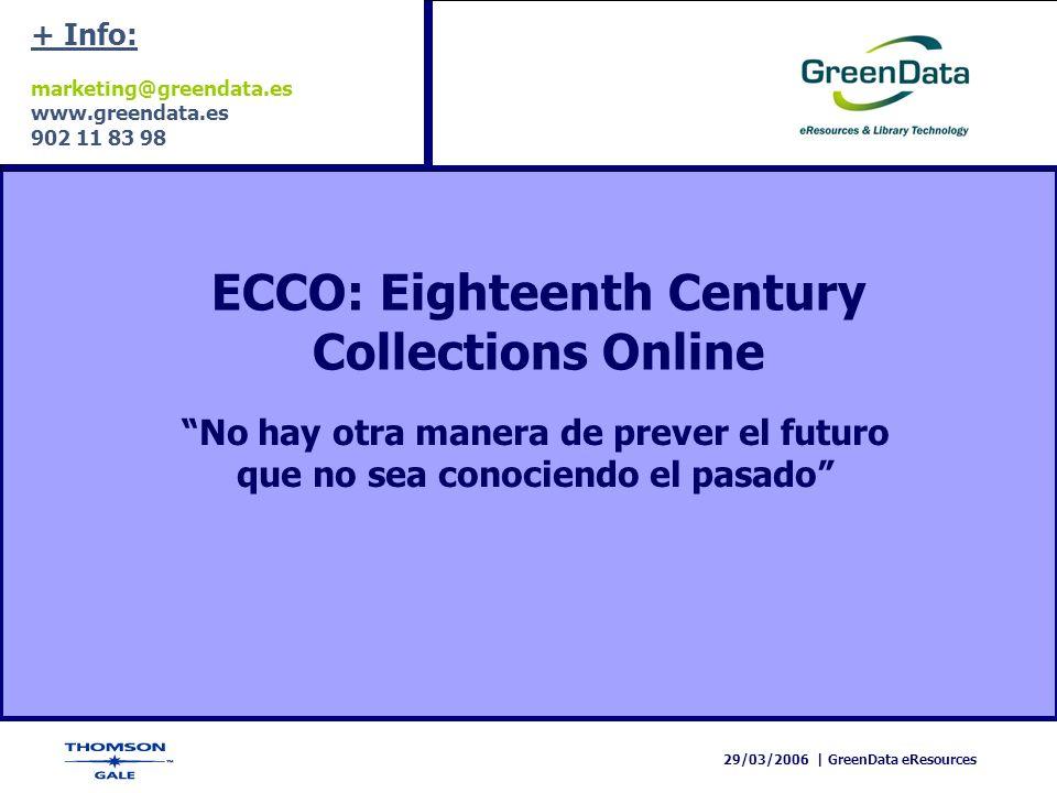 29/03/2006   GreenData eResources ECCO: Eighteenth Century Collections Online Muchas gracias por su atención Para más información contacten con: marketing@greendata.es
