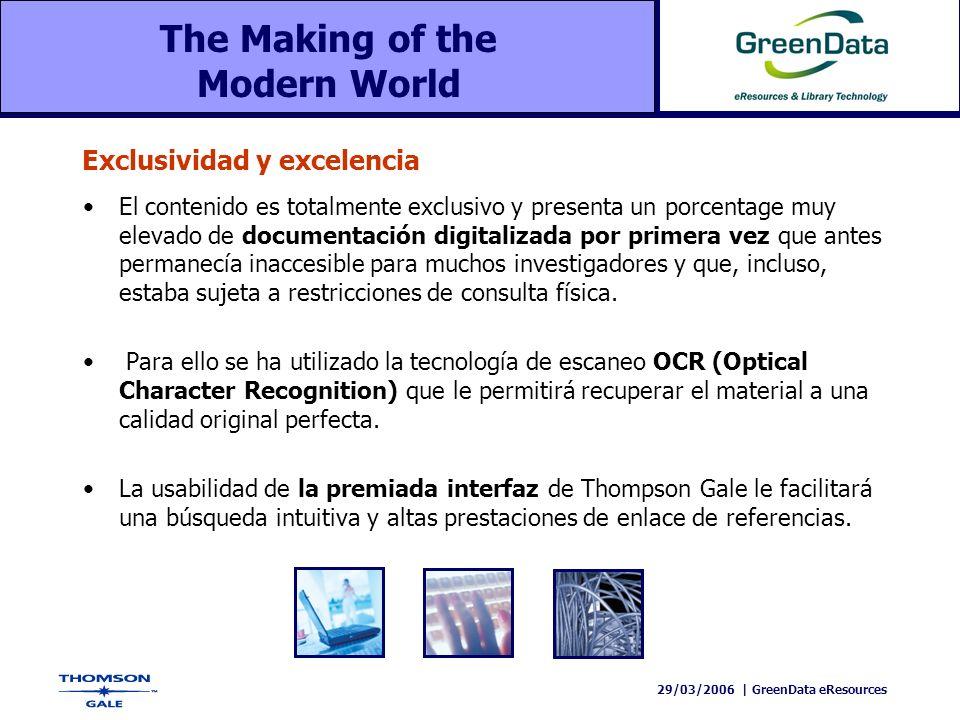 29/03/2006   GreenData eResources ColecciónTítuloPáginas ECCO138.00026.000.000 MOML22.00010.000.000 MOME61.00012.000.000 Sabin29.000 6.000.000 TOTAL250.00054.000.000 The Making of the Modern World La biblioteca digital más extensa del mundo
