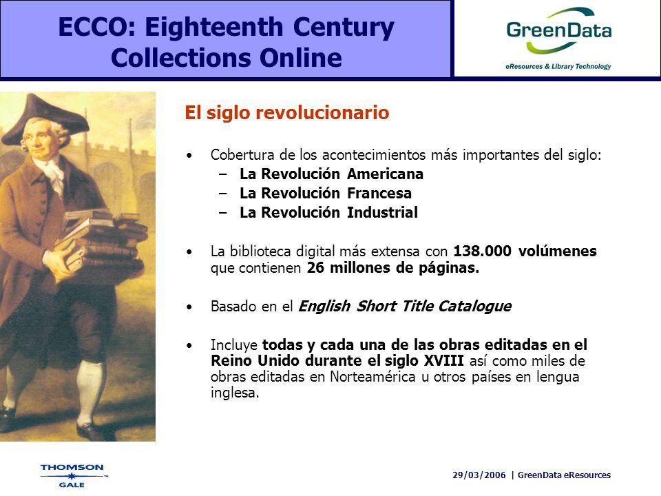 29/03/2006 | GreenData eResources Cobertura de los acontecimientos más importantes del siglo: –La Revolución Americana –La Revolución Francesa –La Rev