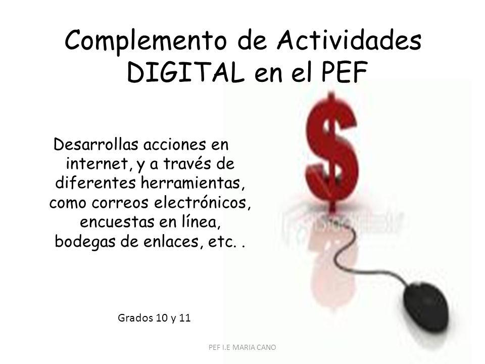 Complemento de Actividades DIGITAL en el PEF Desarrollas acciones en internet, y a través de diferentes herramientas, como correos electrónicos, encuestas en línea, bodegas de enlaces, etc..