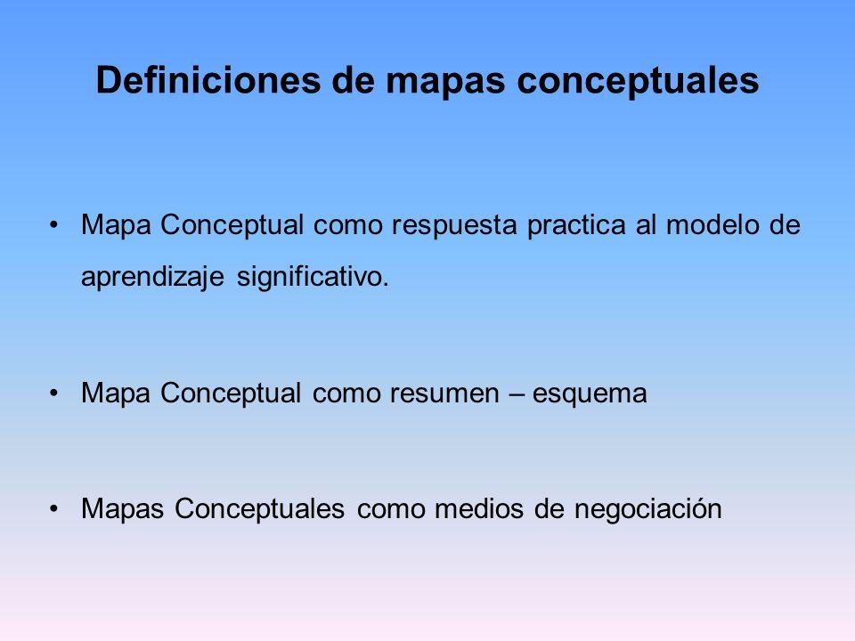 Mapa Conceptual como respuesta practica al modelo de aprendizaje significativo El mapa conceptual concuerda con un modelo educativo: Que se encuentre centrado en el alumno Que atiende al desarrollo de destrezas y no a la repetición memorística.