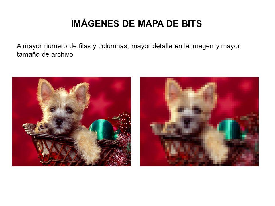IMÁGENES DE MAPA DE BITS A mayor número de filas y columnas, mayor detalle en la imagen y mayor tamaño de archivo.