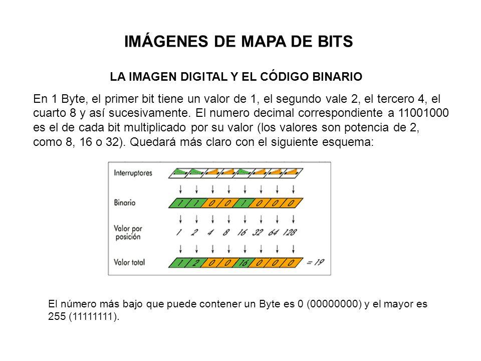 IMÁGENES DE MAPA DE BITS LA IMAGEN DIGITAL Y EL CÓDIGO BINARIO En 1 Byte, el primer bit tiene un valor de 1, el segundo vale 2, el tercero 4, el cuart