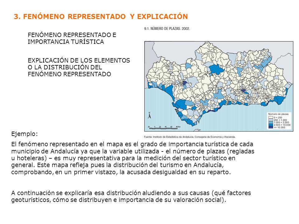 Ejemplo: El fenómeno representado en el mapa es el grado de importancia turística de cada municipio de Andalucía ya que la variable utilizada - el núm