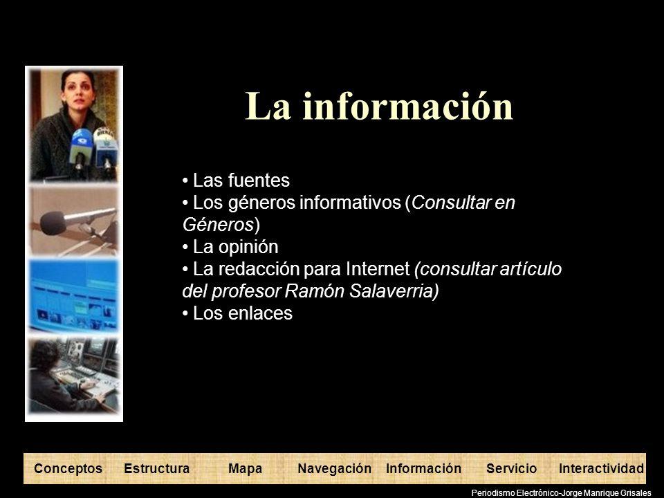 ConceptosEstructuraInformaciónMapaNavegaciónServicioInteractividad Periodismo Electrónico-Jorge Manrique Grisales El servicio Productos asociados al medio Efectos instrumentales (información variada, entretenimiento, concursos, etc) Criterios para mantener la fidelidad del usuario.