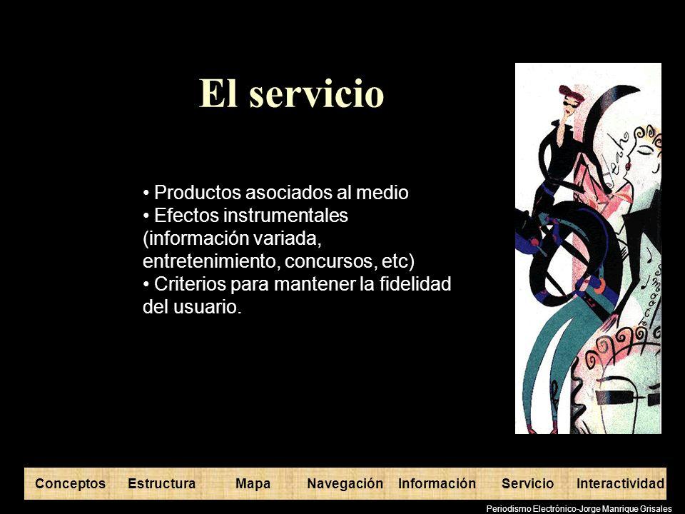 ConceptosEstructuraInformaciónMapaNavegaciónServicioInteractividad Periodismo Electrónico-Jorge Manrique Grisales El servicio Productos asociados al m