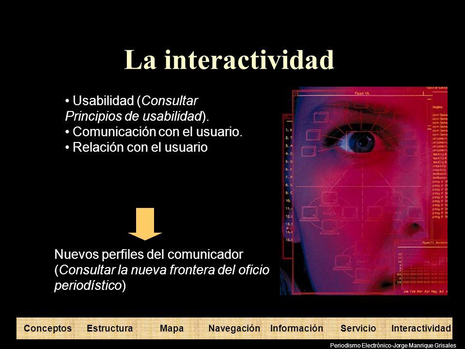 ConceptosEstructuraInformaciónMapaNavegaciónServicioInteractividad Periodismo Electrónico-Jorge Manrique Grisales La interactividad Usabilidad (Consul