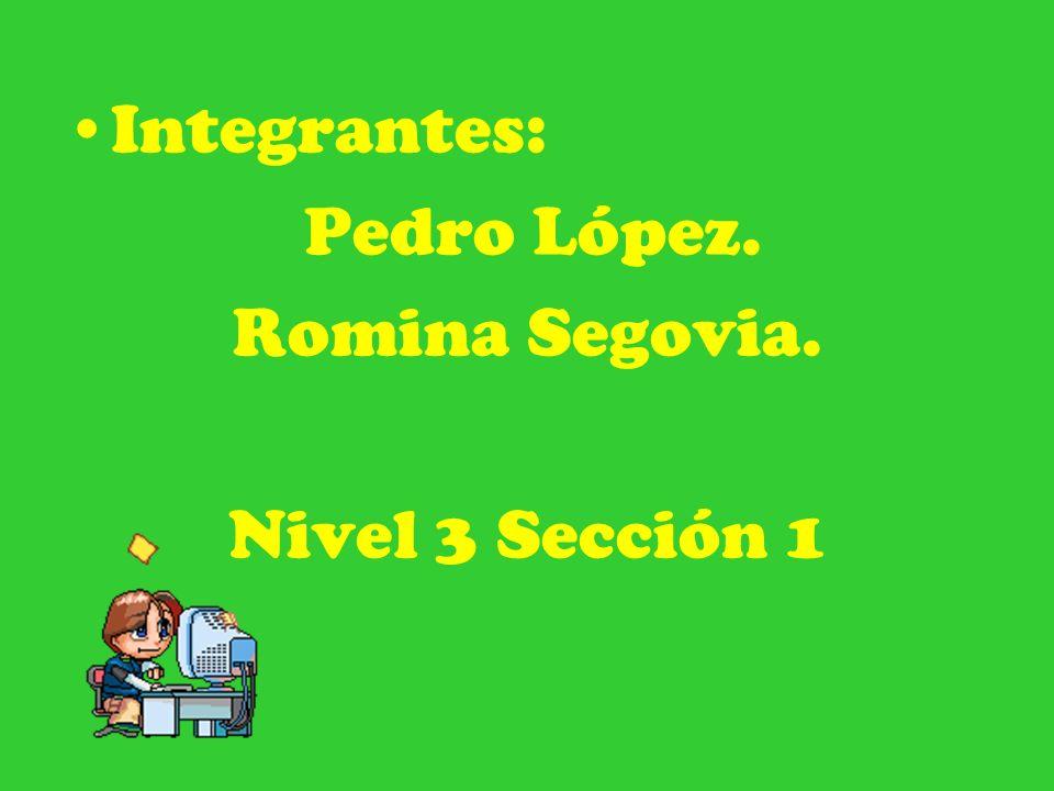 Integrantes: Pedro López. Romina Segovia. Nivel 3 Sección 1