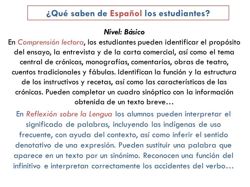 Nivel: Básico En Comprensión lectora, los estudiantes pueden identificar el propósito del ensayo, la entrevista y de la carta comercial, así como el t