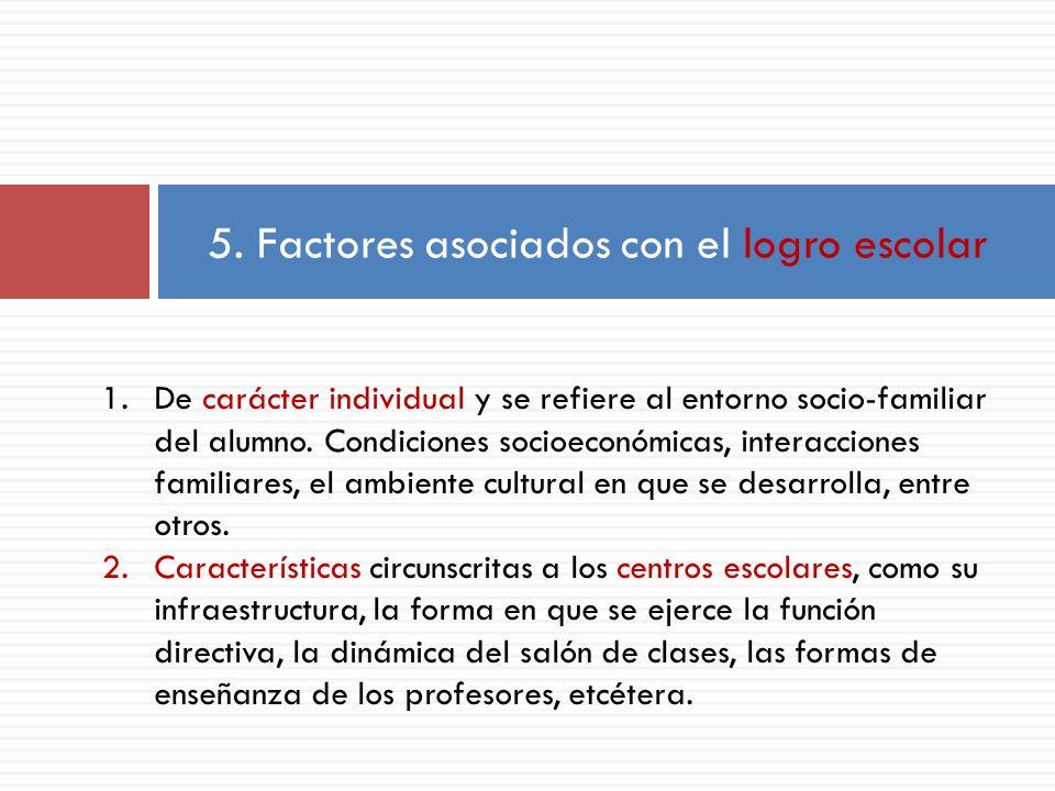 5. Factores asociados con el logro escolar 1.De carácter individual y se refiere al entorno socio-familiar del alumno. Condiciones socioeconómicas, in