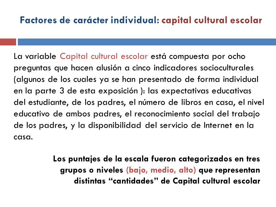Factores de carácter individual: capital cultural escolar La variable Capital cultural escolar está compuesta por ocho preguntas que hacen alusión a c