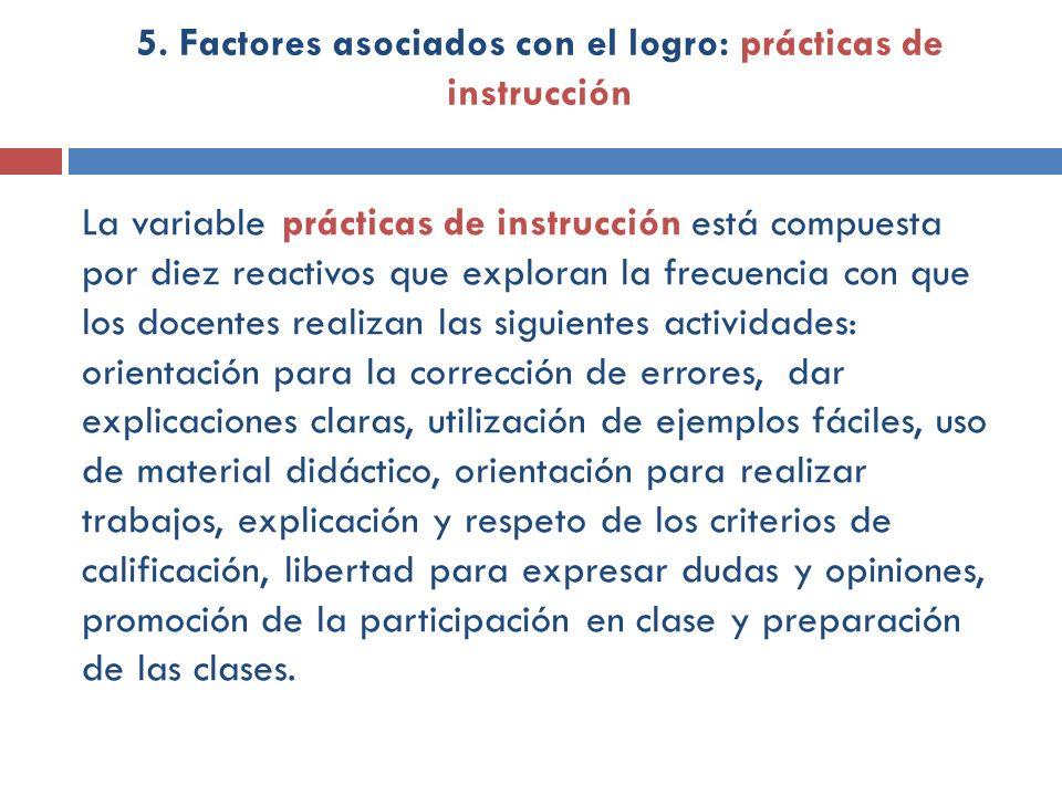 La variable prácticas de instrucción está compuesta por diez reactivos que exploran la frecuencia con que los docentes realizan las siguientes activid