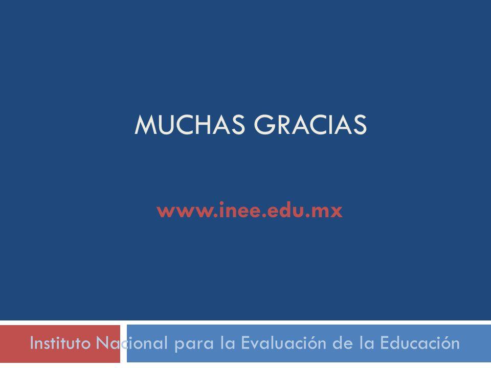 MUCHAS GRACIAS Instituto Nacional para la Evaluación de la Educación www.inee.edu.mx