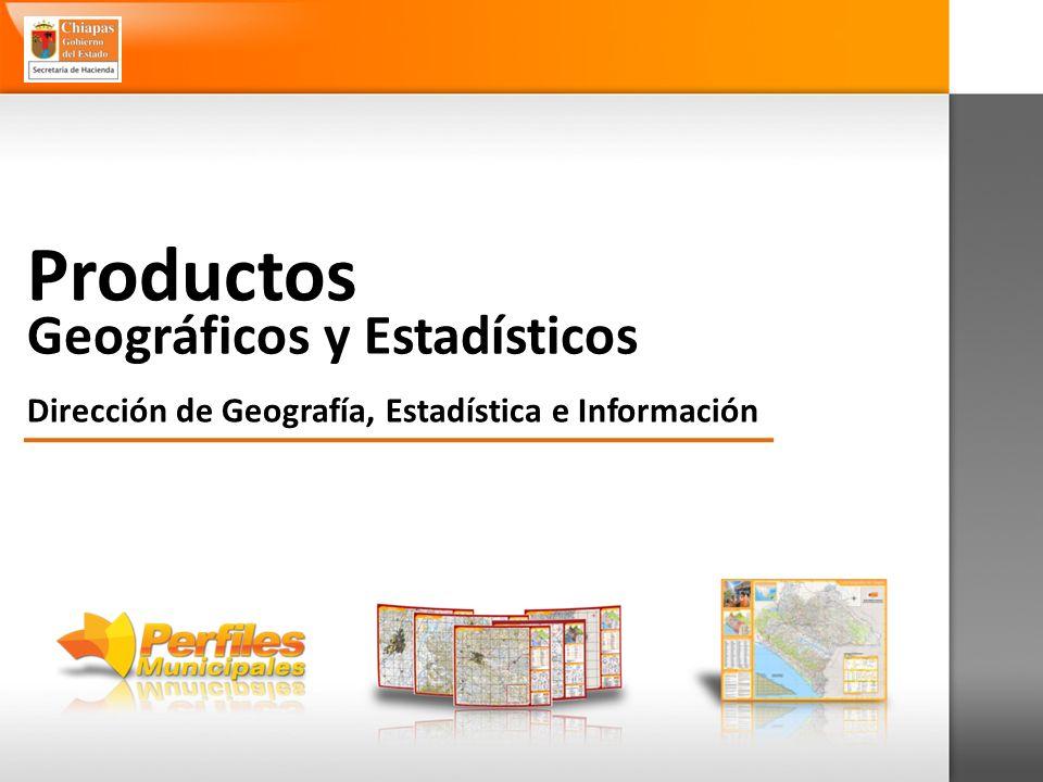 Geográficos y Estadísticos Dirección de Geografía, Estadística e Información Productos