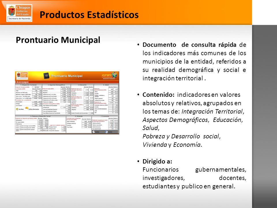 Prontuario Municipal Productos Estadísticos Documento de consulta rápida de los indicadores más comunes de los municipios de la entidad, referidos a su realidad demográfica y social e integración territorial.