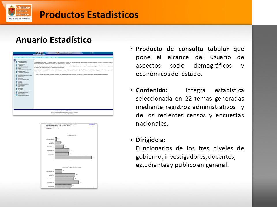 Anuario Estadístico Productos Estadísticos Producto de consulta tabular que pone al alcance del usuario de aspectos socio demográficos y económicos del estado.