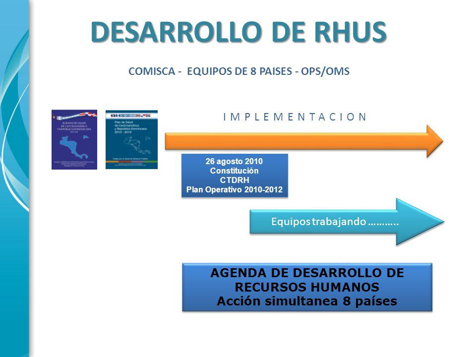 PLAN OPERATIVO 2010 - 2013 Establecer equipo y mecánica de trabajo conjunto en RHUS CA y DOR Contar con la Medición de Metas de RHUS como línea de base en la Subregión Implementar Observatorios nacionales de RHUS base del Observatorio Regional