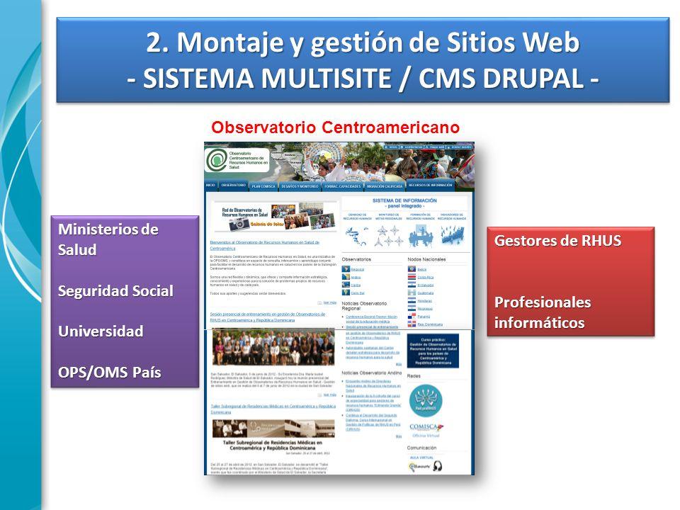 2. Montaje y gestión de Sitios Web - SISTEMA MULTISITE / CMS DRUPAL - Observatorio Centroamericano Ministerios de Salud Seguridad Social Universidad O