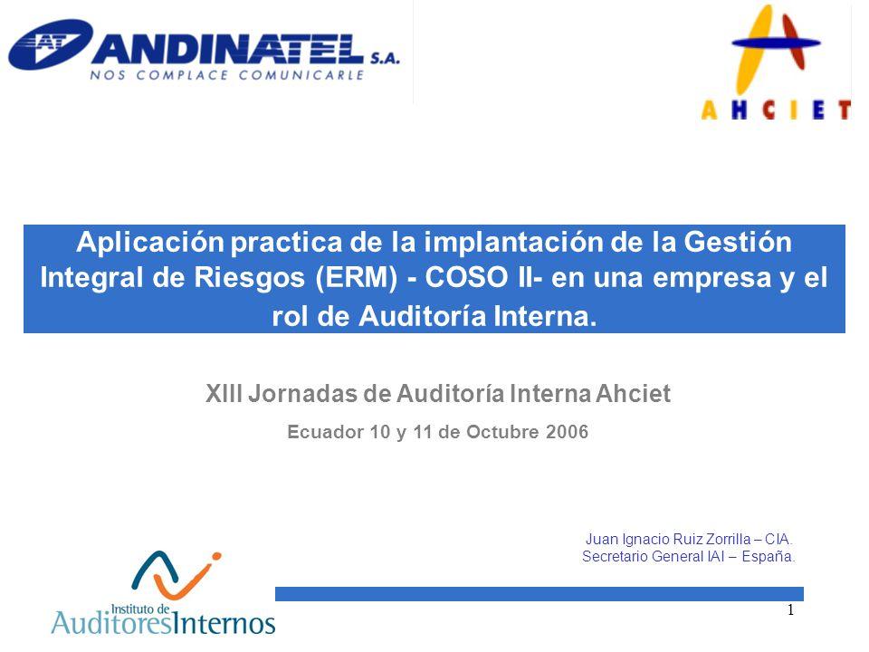 1 Aplicación practica de la implantación de la Gestión Integral de Riesgos (ERM) - COSO II- en una empresa y el rol de Auditoría Interna. XIII Jornada