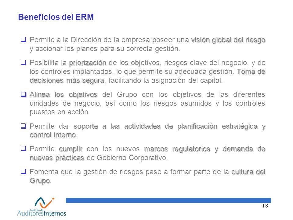 18 Beneficios del ERM visión global del riesgo Permite a la Dirección de la empresa poseer una visión global del riesgo y accionar los planes para su
