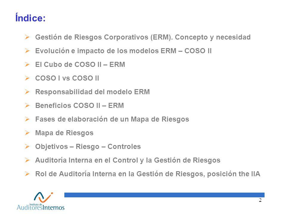 2 Índice: Gestión de Riesgos Corporativos (ERM). Concepto y necesidad Evolución e impacto de los modelos ERM – COSO II El Cubo de COSO II – ERM COSO I