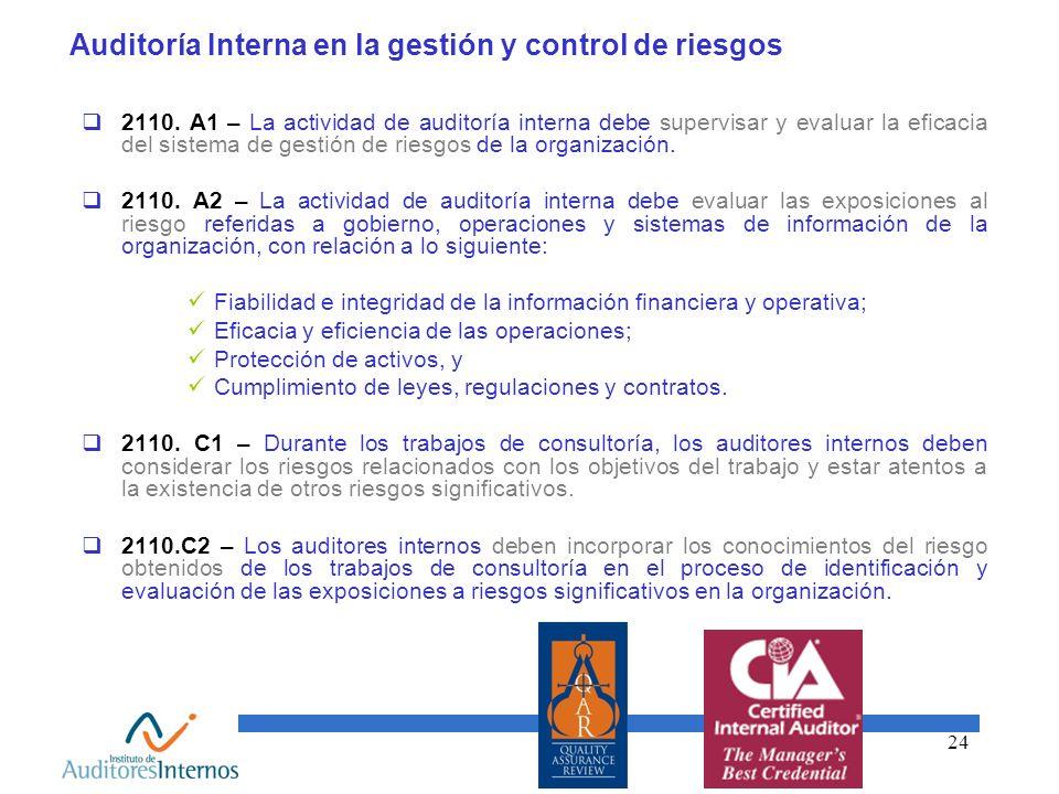 24 Auditoría Interna en la gestión y control de riesgos 2110. A1 – La actividad de auditoría interna debe supervisar y evaluar la eficacia del sistema