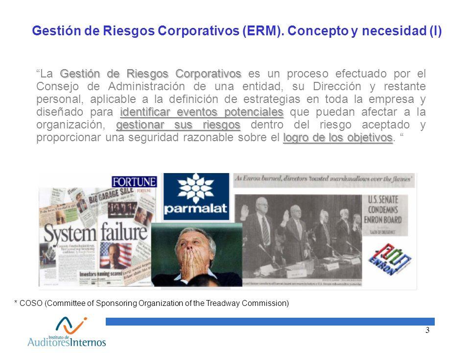 3 Gestión de Riesgos Corporativos (ERM). Concepto y necesidad (I) Gestión de Riesgos Corporativos identificar eventos potenciales gestionar sus riesgo