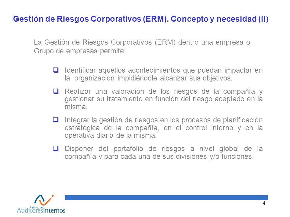 4 Gestión de Riesgos Corporativos (ERM). Concepto y necesidad (II) La Gestión de Riesgos Corporativos (ERM) dentro una empresa o Grupo de empresas per