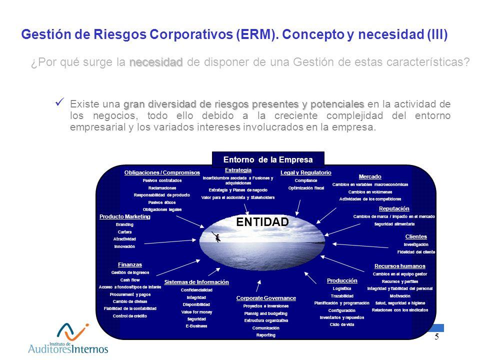 5 Gestión de Riesgos Corporativos (ERM). Concepto y necesidad (III) Estrategia Incertidumbre asociada a Fusiones y adquisiciones Estrategia y Planes d
