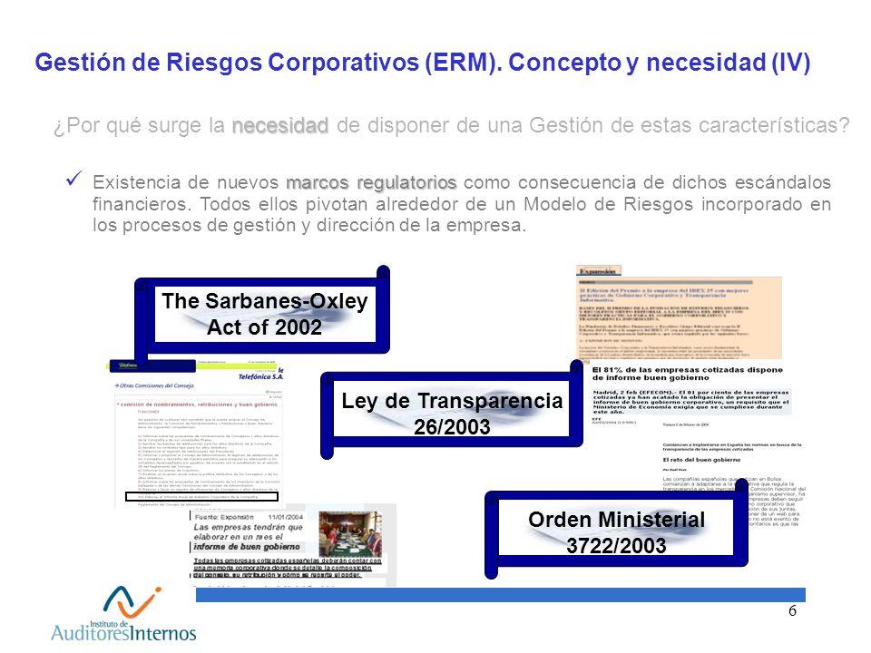 6 Gestión de Riesgos Corporativos (ERM). Concepto y necesidad (IV) marcos regulatorios Existencia de nuevos marcos regulatorios como consecuencia de d