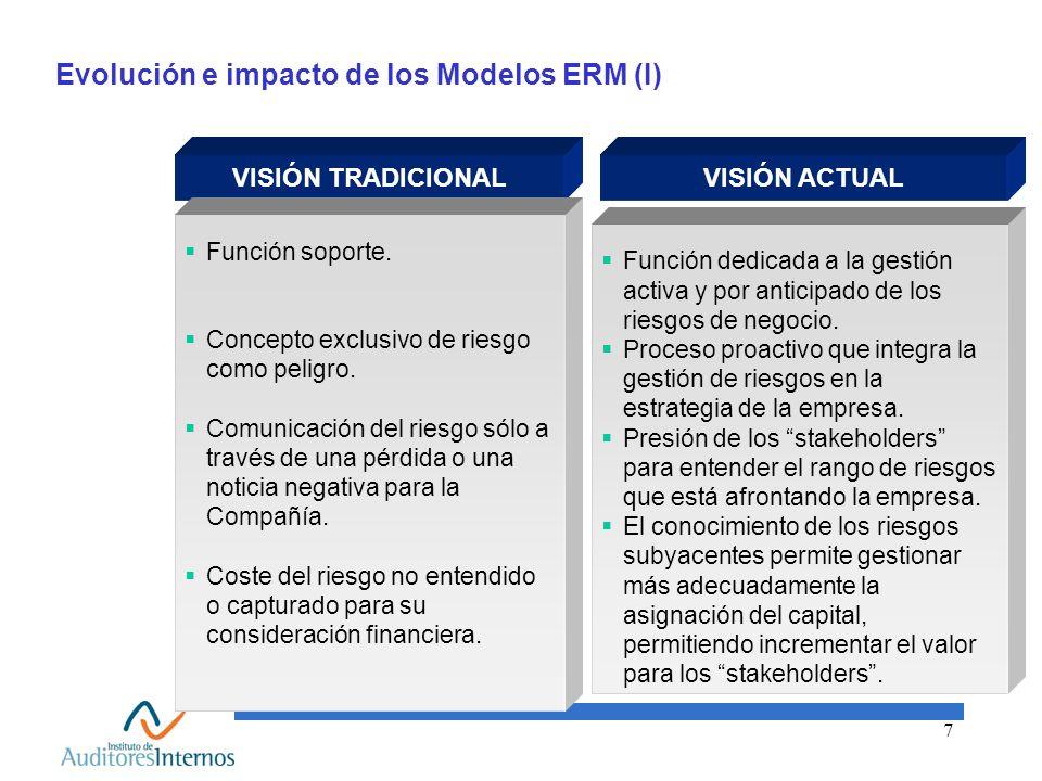 7 Evolución e impacto de los Modelos ERM (I) VISIÓN TRADICIONAL Función dedicada a la gestión activa y por anticipado de los riesgos de negocio. Proce