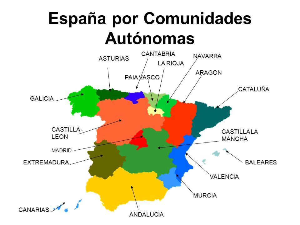 España por Comunidades Autónomas ARAGON CATALUÑA BALEARES VALENCIA MURCIA ANDALUCIA CANARIAS EXTREMADURA MADRID CASTILLA - LEON GALICIA ASTURIAS CANTABRIA LA RIOJA NAVARRA PAIA VASCO CASTILLA LA MANCHA