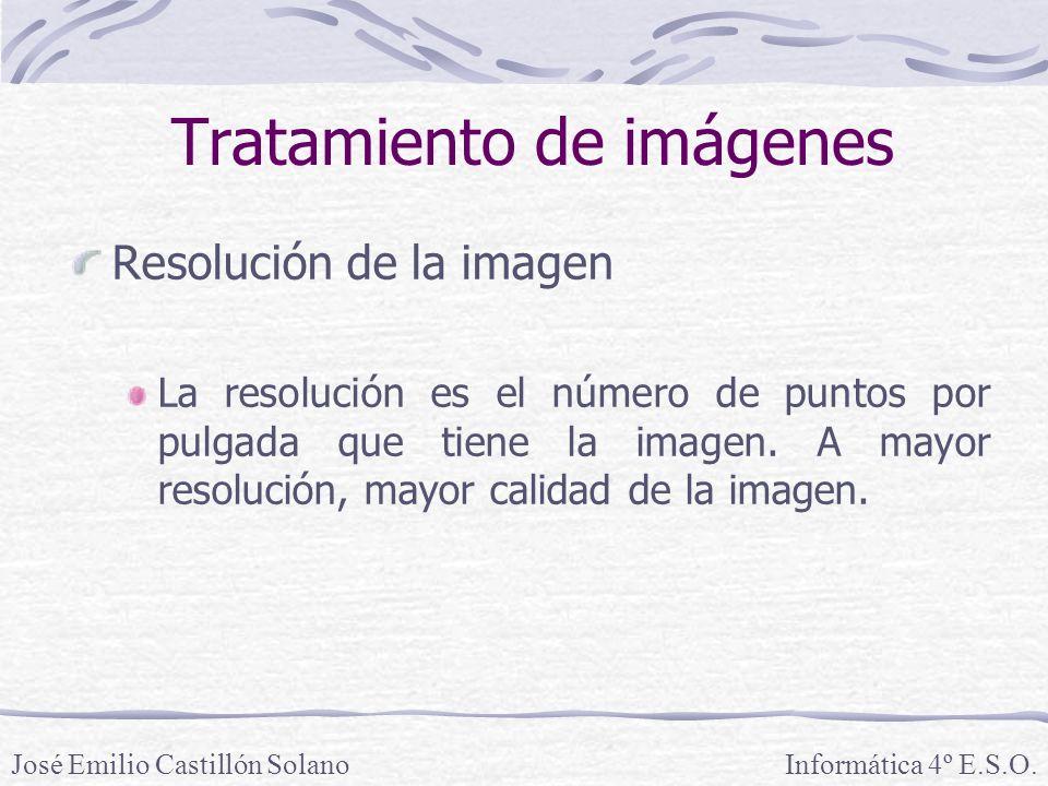 Resolución de la imagen La resolución es el número de puntos por pulgada que tiene la imagen.