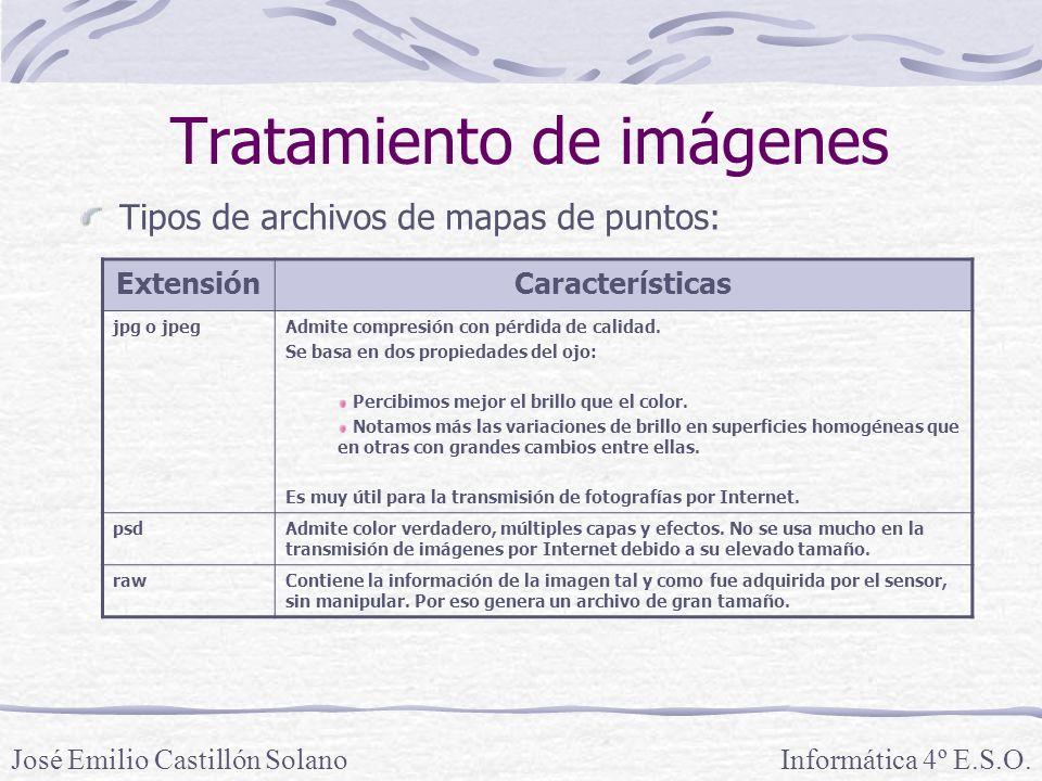 Tratamiento de imágenes Tipos de archivos de mapas de puntos: Informática 4º E.S.O.José Emilio Castillón Solano ExtensiónCaracterísticas jpg o jpegAdmite compresión con pérdida de calidad.