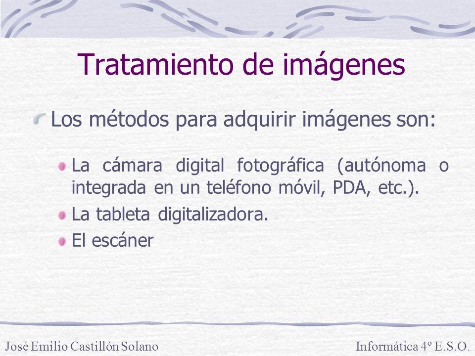 Los métodos para adquirir imágenes son: La cámara digital fotográfica (autónoma o integrada en un teléfono móvil, PDA, etc.). La tableta digitalizador