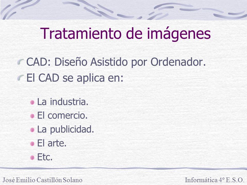 CAD: Diseño Asistido por Ordenador. El CAD se aplica en: La industria. El comercio. La publicidad. El arte. Etc. Informática 4º E.S.O.José Emilio Cast