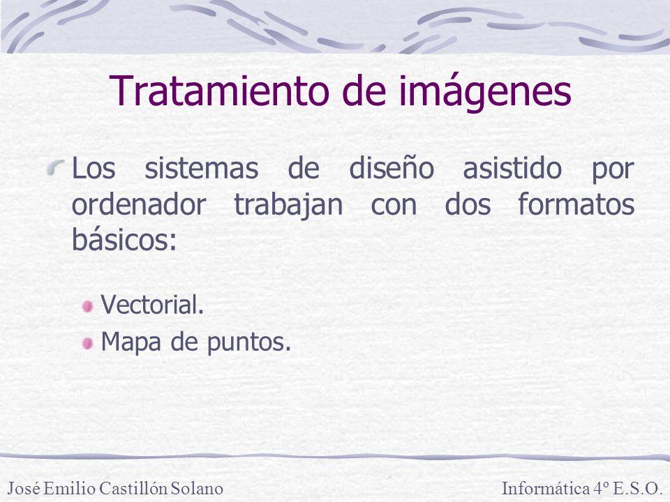 Los sistemas de diseño asistido por ordenador trabajan con dos formatos básicos: Vectorial. Mapa de puntos. Informática 4º E.S.O.José Emilio Castillón