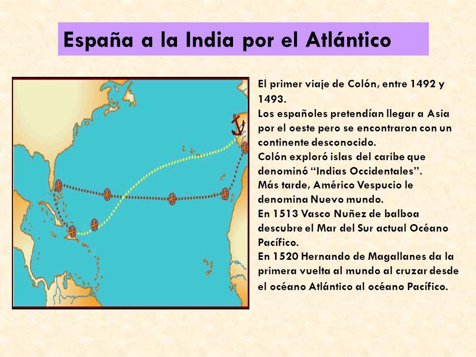 PORTUGAL A LAS INDIAS POR ÁFRICA: Los portugueses fueron pioneros y querían llegar a Asia bordeando África En 1487 Bartolomé Díaz llega al Cabo de Bue