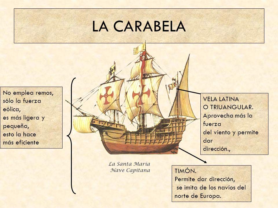 LA CARABELA TIMÓN.Permite dar dirección, se imita de los navíos del norte de Europa.