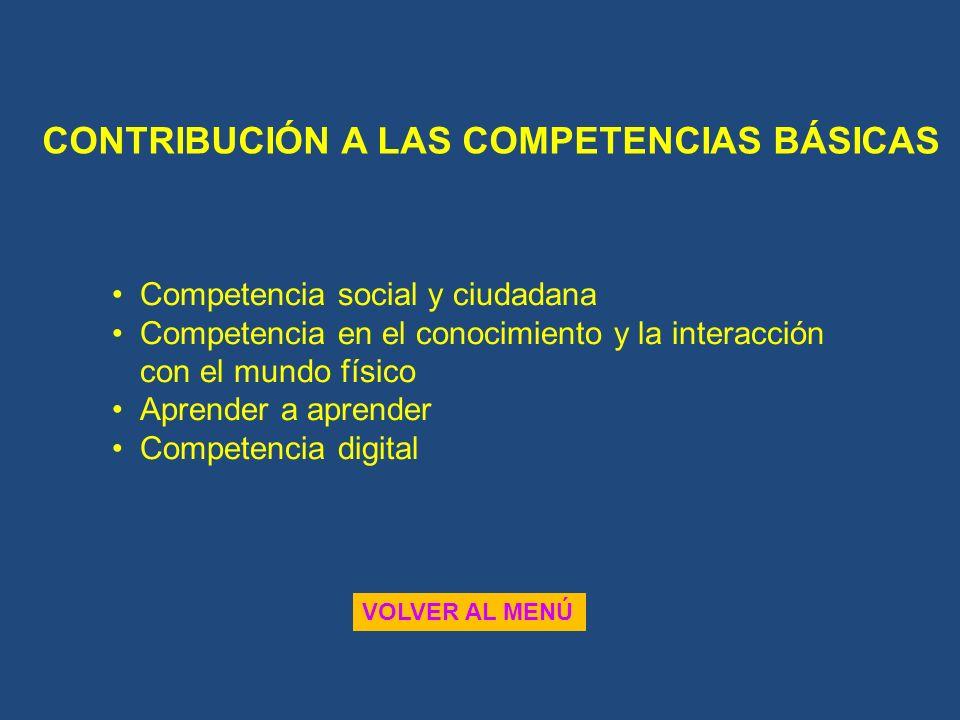 CONTRIBUCIÓN A LAS COMPETENCIAS BÁSICAS VOLVER AL MENÚ Competencia social y ciudadana Competencia en el conocimiento y la interacción con el mundo fís